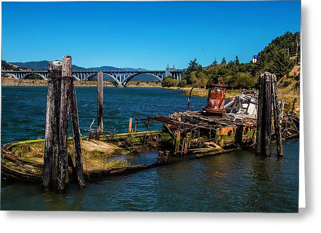 Sunken Mary D Hume Gold Beach Greeting Card by Garry Gay