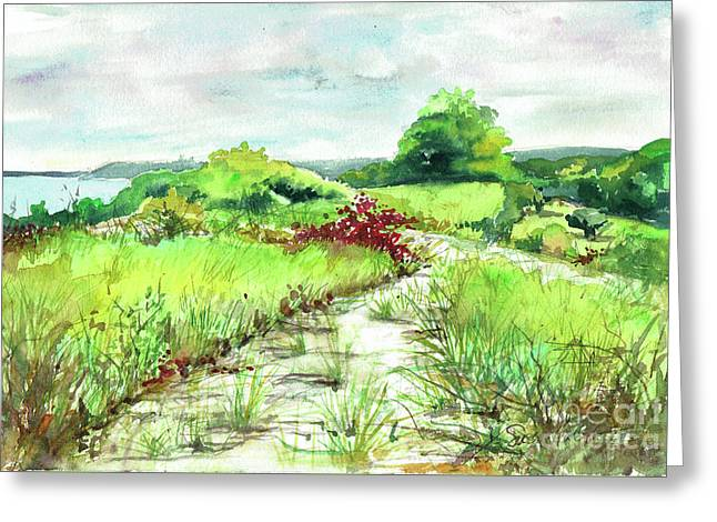 Greeting Card featuring the painting Sunken Meadow, September by Susan Herbst