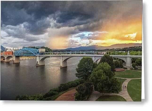 Sunlight And Showers Over Chattanooga Greeting Card