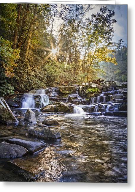Sunlight At The Falls Greeting Card by Debra and Dave Vanderlaan