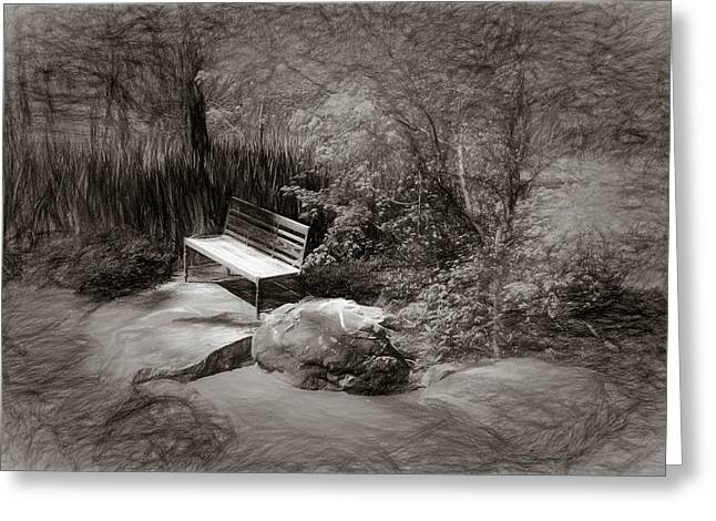 Sunlight On Bench Greeting Card by James Barber