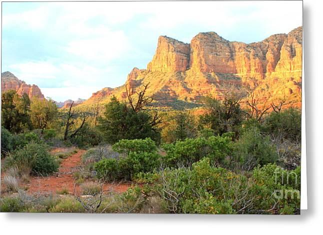 Arizona Landmark Greeting Cards - Sunlight on Sedona Rocks Greeting Card by Carol Groenen