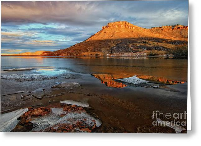 Sunlight On The Flatirons Reservoir Greeting Card