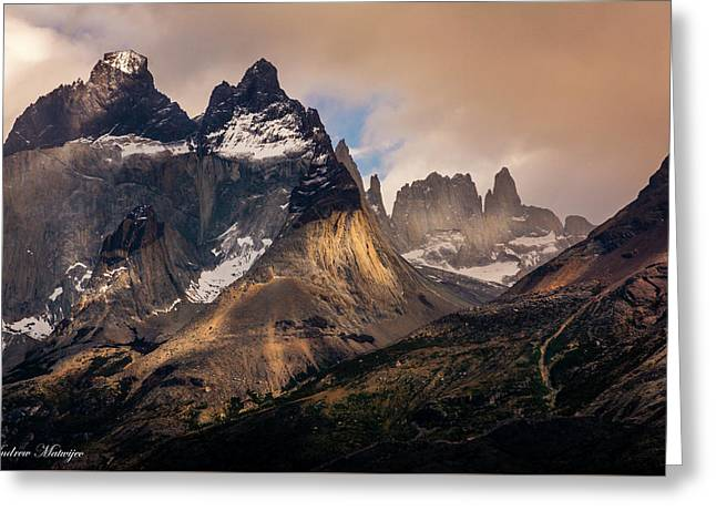Sunlight On The Mountain Greeting Card by Andrew Matwijec