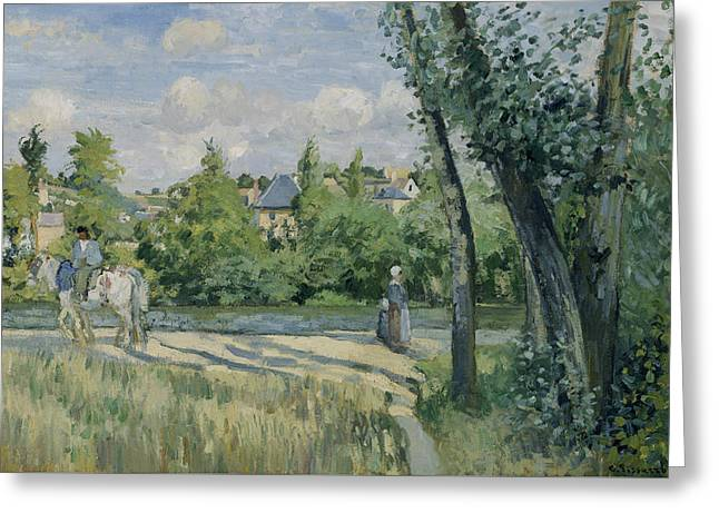 Sunlight On The Road Pontoise Greeting Card by Camille Pissarro