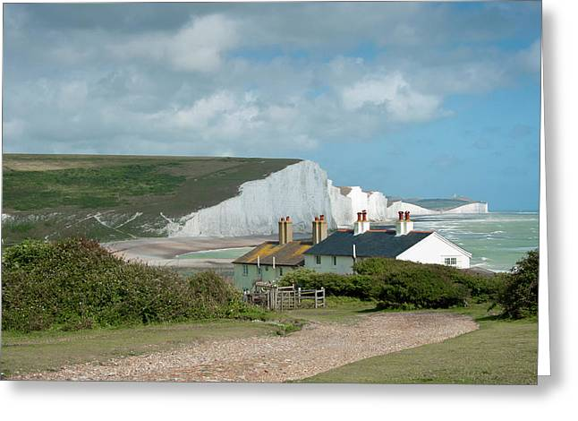 Sunlight On The Seven Sisters Greeting Card by Donald Davis