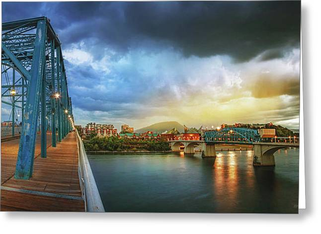 Sunlight Thru Rain Over Chattanooga Greeting Card