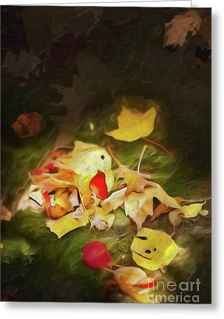 Greeting Card featuring the digital art Sunlit Autumn Leaves On Dark Moss Ap by Dan Carmichael