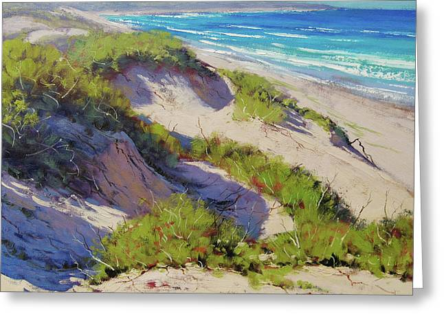 Sunlit Dunes Norah Head  Nsw Australia Greeting Card