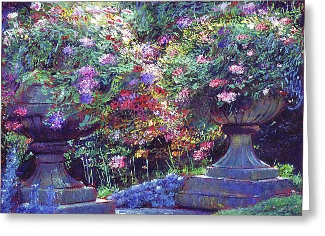 Sunlit Garden Urns Greeting Card by David Lloyd Glover