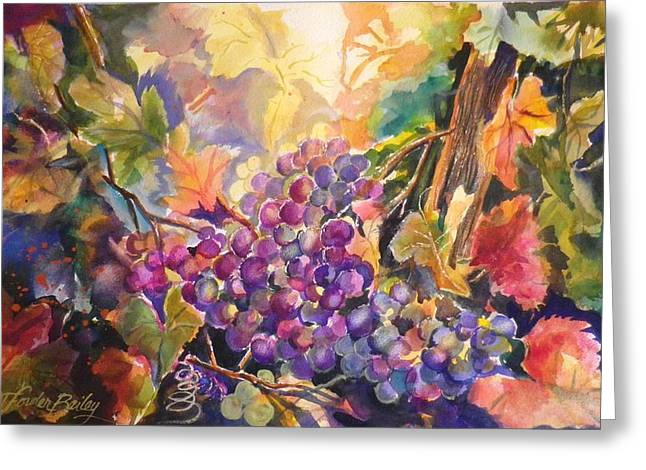 Sunlit Grapes Upclose Sold Greeting Card by Therese Fowler-Bailey