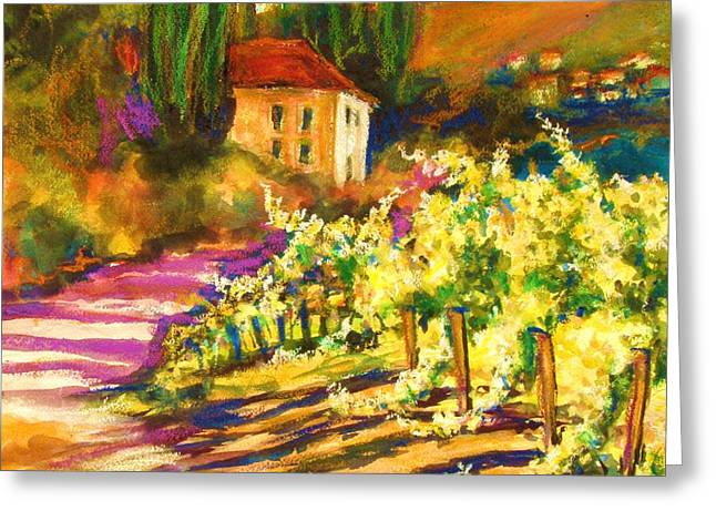 Sunlit Grapevines  Sold Greeting Card by Therese Fowler-Bailey