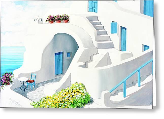 Sunlit In Santorini - Prints Of My Original Oil Painting Greeting Card