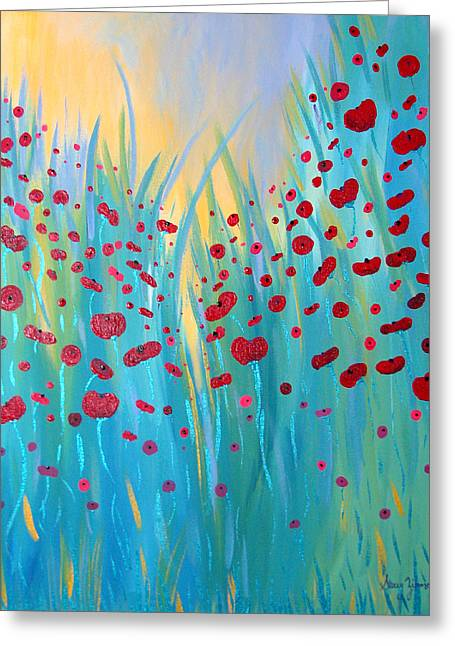 Sunlit Poppies Greeting Card