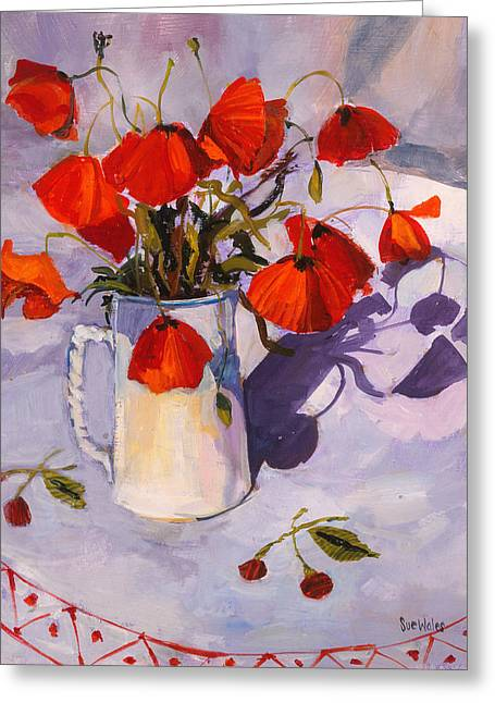 Sunlit Poppies Greeting Card by Sue Wales