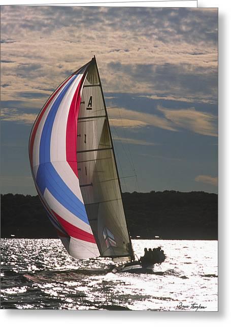 Sunlit Sails - Lake Geneva Wisconsin Greeting Card by Bruce Thompson
