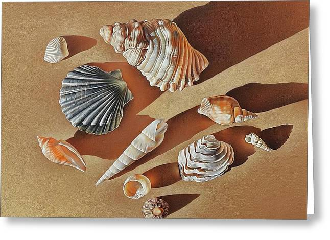 Sunlit Shells Greeting Card by Elena Kolotusha