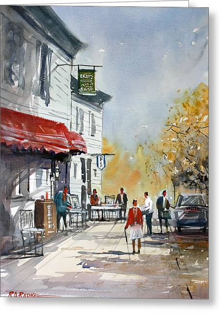 Sunlit Sidewalk - Neshkoro Greeting Card by Ryan Radke