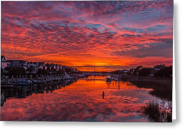 Sunlit Sky Over Morgan Creek -  Wild Dunes On The Isle Of Palms Greeting Card