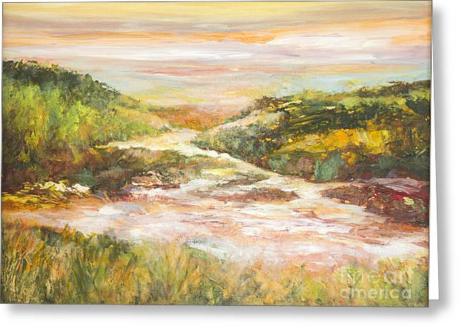 Sunlit Stream Greeting Card by Glory Wood
