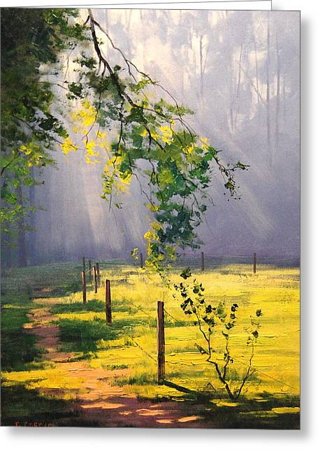Sunlit Trail Greeting Card by Graham Gercken