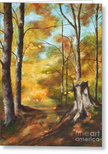 Sunlit Tree Trunk Greeting Card