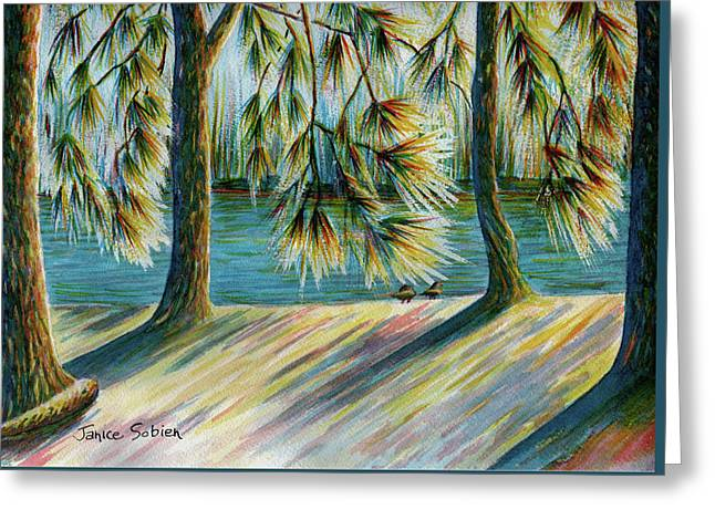 Sunlit Trees Greeting Card by Janice Sobien