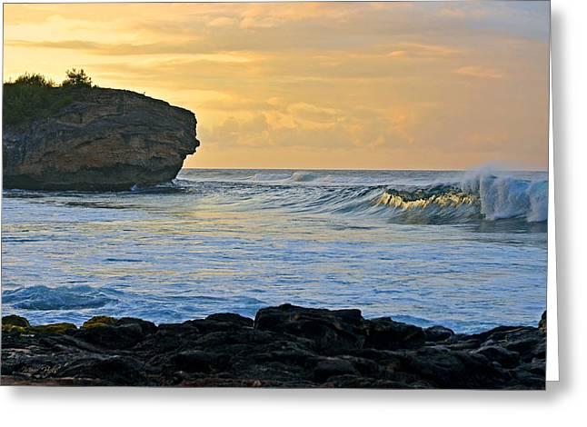 Sunlit Waves - Kauai Dawn Greeting Card by Marie Hicks