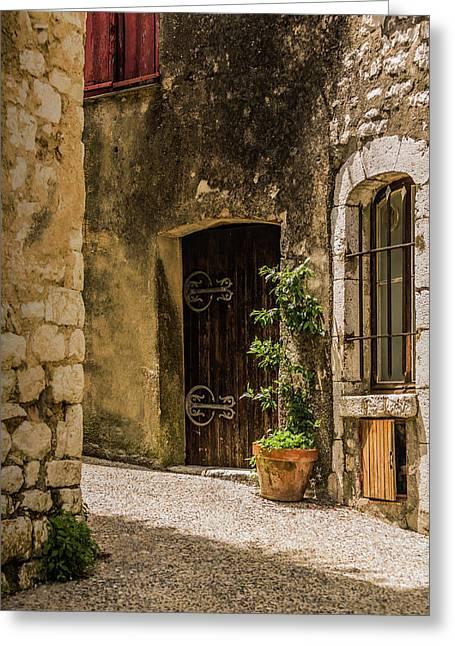 Sunny Back Alley, St Paul De Vence, France. Greeting Card