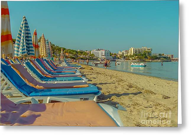 Sunny Beach Greeting Card by Claudia M Photography