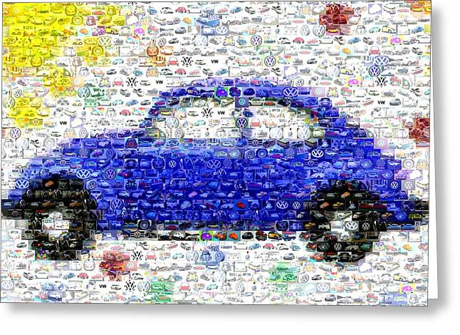 Sunny Blue Vw Bug Mosaic Greeting Card by Paul Van Scott