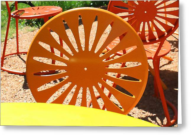 Sunny Chairs 4 Greeting Card by Geoff Strehlow