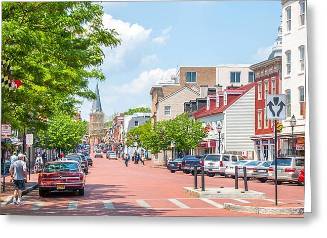 Sunny Day On Main Greeting Card