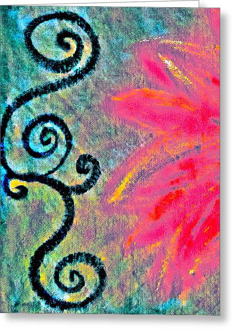 Sunny Day Pink Greeting Card by Gwyn Newcombe