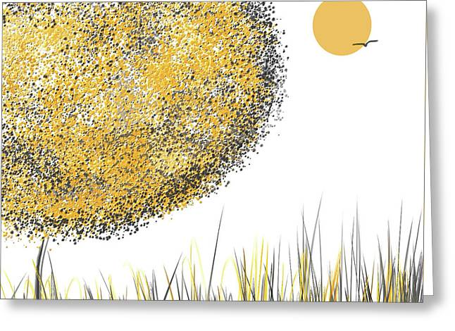 Sunny Day - Yellow And Gray Tree Contemporary Art Greeting Card