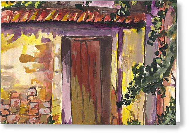 Greeting Card featuring the digital art Sunny Doorway by Darren Cannell
