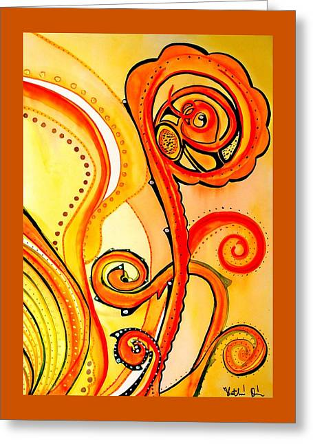 Greeting Card featuring the painting Sunny Flower - Art By Dora Hathazi Mendes by Dora Hathazi Mendes