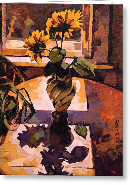 Greeting Card featuring the painting Sunny Flowers In Italian Vase by Tim  Heimdal