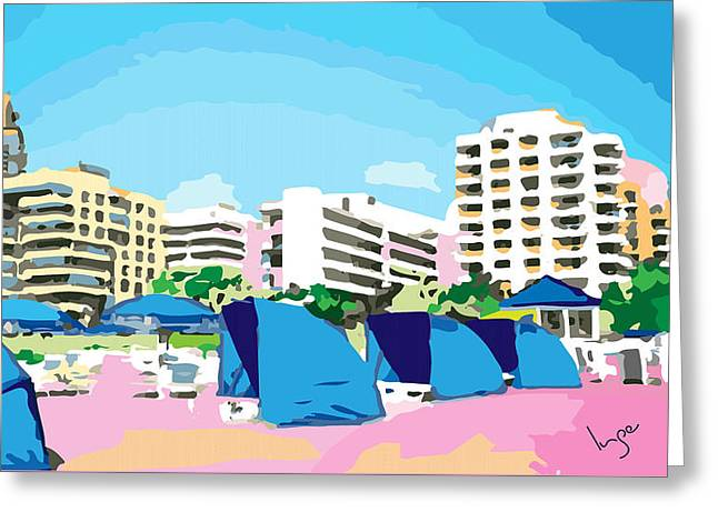 Sunny South Beach Miami Greeting Card by Inge Lewis