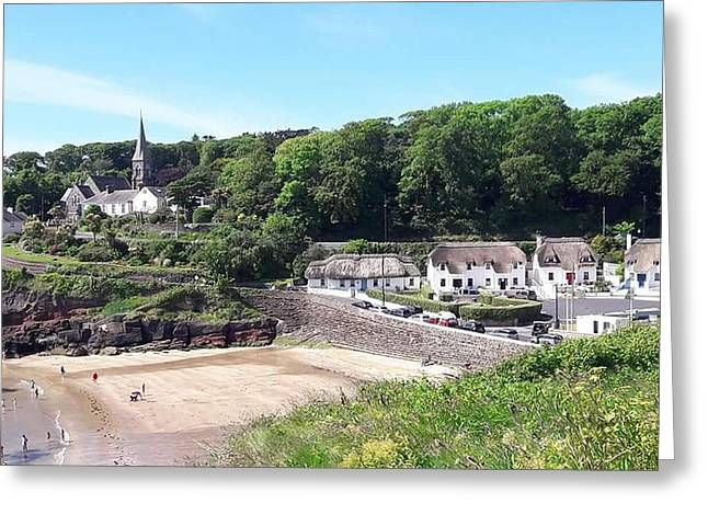 Sunny Summer Sunday In Dunmore East  Greeting Card