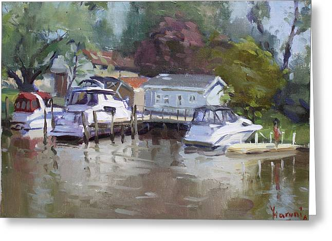 Sunny Sunday At The Canal Greeting Card