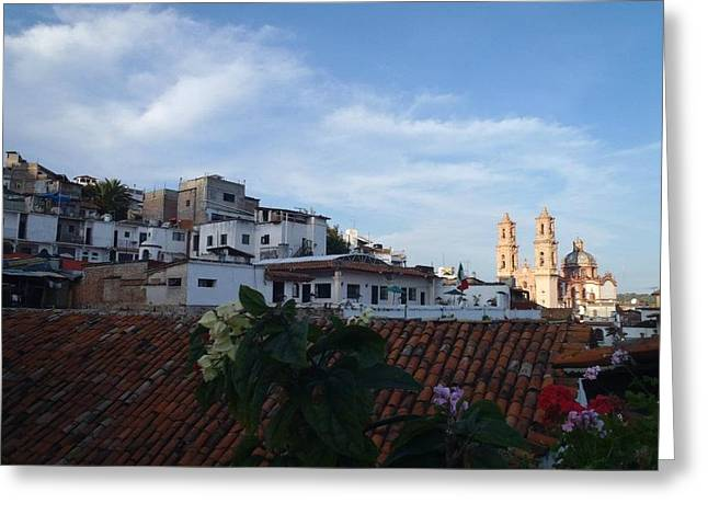Sunny Taxco Greeting Card by Brecia Nye