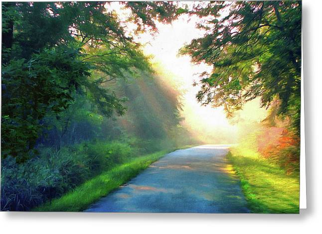 Sunny Trail Greeting Card by Cedric Hampton