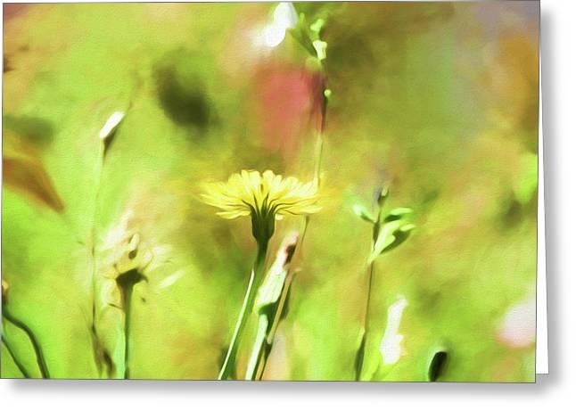 Sunny Yellow Flower Greeting Card by Bonnie Bruno
