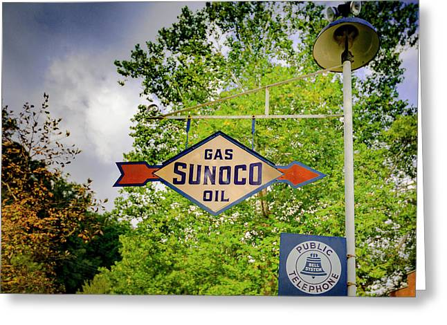 Sunoco Sign On Pole With Public Telephone Greeting Card by Jack R Perry