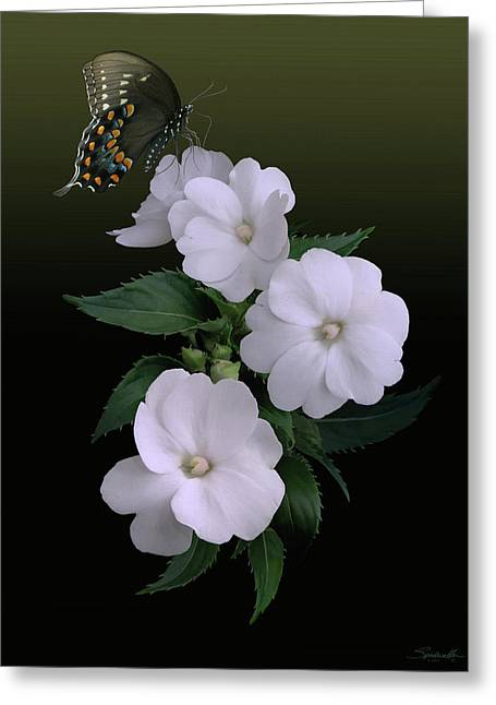 Sunpatiens And Swallowtail Butterfly Greeting Card