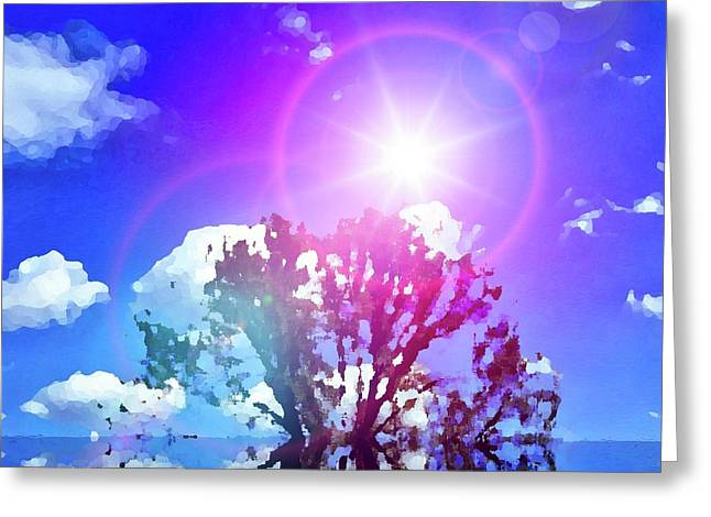 Sunrays Deep Blue Greeting Card
