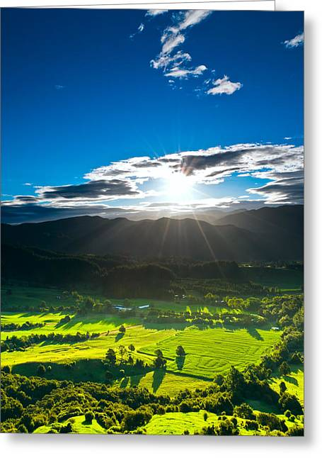 Sunrays Flood Farmland During Sunset Greeting Card