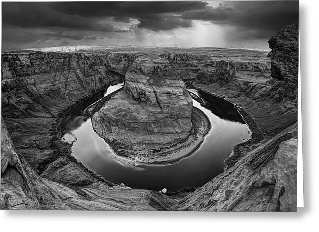 Sunrays Over Horseshoe Bend In Black And White Greeting Card
