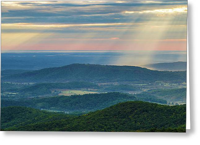 Greeting Card featuring the photograph Sunrays Over The Blue Ridge Mountains by Lori Coleman